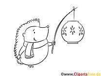 Igel mit Laterne Ausmalbild zum Runterladen und Drucken