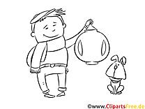 Junge mit Laterne Malvorlage zum Runterladen und Drucken
