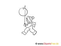 Kind mit Laterne Bild schwarz-weiß, Illustration, Grafik zum Ausmalen