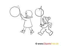 Kinder mit Laternen Bild schwarz-weiß, Illustration, Grafik zum Ausmalen
