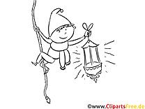 Kobold mit Laterne Ausmalbild zum Runterladen und Drucken