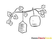 Laternen am Baum Ausmalbild zum Runterladen und Drucken
