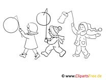Laterneumzug Bild schwarz-weiß, Illustration, Grafik zum Ausmalen
