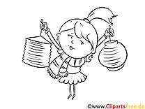 Mädchen Ausmalbild zum Runterladen und Drucken