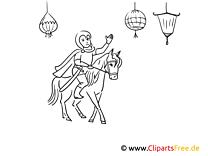 Ritter am Pferd Malvorlage