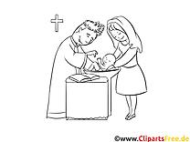 Das Kind wird getauft Bild zum Ausmalen