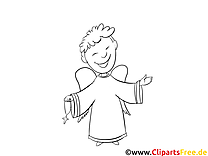 Lächelnder Engel Taufe kostenlose Ausmalbilder