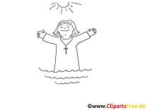 Taufe Grafik zum Ausmalen