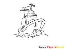 Meer Schiff kostenloses Ausmalbild