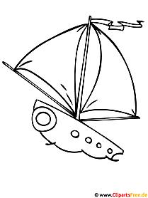Segelschiff Ausmalbilder für Kinder kostenlos