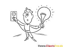 Elektrizität, Glühbirne Bild, Illustration, Clipart schwarz-weiß zum Ausmalen