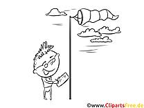 Fluger, Wind Bild, Illustration, Clipart schwarz-weiß zum Ausmalen
