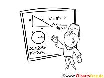 Lehrer Mathe Bild, Illustration, Clipart schwarz-weiß zum Ausmalen