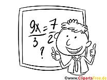 Schulunterricht, Mathe Bild, Illustration, Clipart schwarz-weiß zum Ausmalen