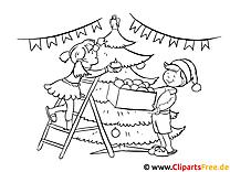 Ausmal Bilder zu Weihnachten und Silvester