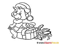 Ausmalbilder Hund mit Geschenken