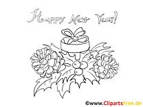 Ausmalbilder zum Neujahr kostenlos herunterladen