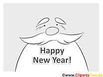 Bärte Großvater Happy New Year Coloring, Malvorlage