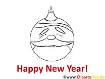 Baum Spielzeug Happy New Year Coloring, Malvorlage