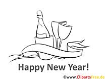 Champagner Weinglas Neujahr Ausmalbilder
