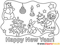 Children Colouring Happy New Year