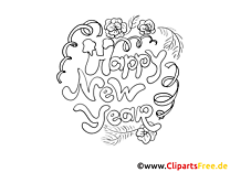 Colouring Page Happy New Year
