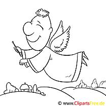 Engel Flug Ausmalbild, Malvorlage zum Drucken und Ausmalen