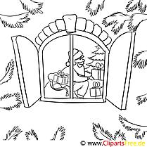 Fenster Weihnachtsmann Ausmalbild, Malvorlage zum Drucken und Ausmalen
