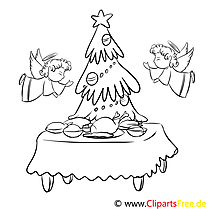 Festmahl Engel Ausmalbild, Malvorlage zum Drucken und Ausmalen