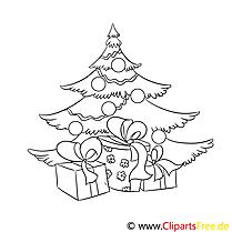 Geschenk Tannenbaum Ausmalbild, Malvorlage zum Drucken und Ausmalen
