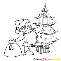 Geschenk WeihnachtsmannAusmalbild, Malvorlage zum Drucken und Ausmalen