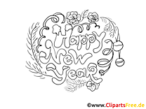 Happy New Year Coloring Sheet free