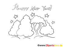 Happy New Year printable Coloring Page