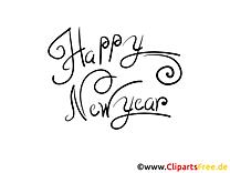 Happy New Year Schrift zum Drucken