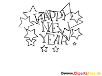 Happy New Year Stars to color