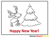 Hirsch Tannenbaum Happy New Year Coloring, Malvorlage