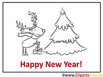 Hirsch Tannenbaum Happy New Year Coloring, Malvorlage