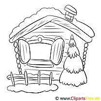 Hütte Tannenbaum Malvorlage zum Drucken und Ausmalen