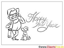 Hund Schal Neujahr Malvorlage gratis