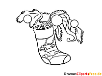 Malbild Nikolausschuh mit Geschenken