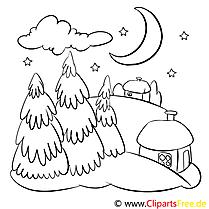 Nacht Hütte Malvorlage zum Drucken und Ausmalen