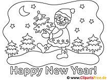 Neujahr Ausmalbild