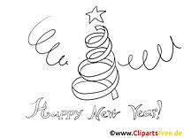 Neujahr Gruesse Stern und Tannenbaum Ausmalbild