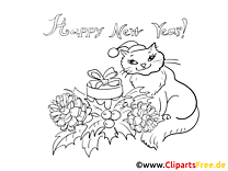 Neujahr Malvorlage gratis