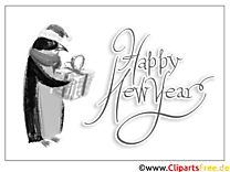 Pinguin Geschenk Happy New Year Coloring, Malvorlage