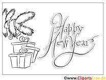 Tannenbaum Geschenk Happy New Year Coloring, Malvorlage