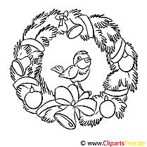 Vogel Kranz Ausmalbild, Malvorlage zum Drucken und Ausmalen