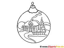 Vorlage zum Malen - Kugel für Weihnachtsbaum