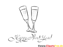 Weinglas Champagner Ausmalbilder zu Silvester