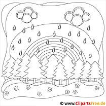 Ausmalbild Regen im Wald
